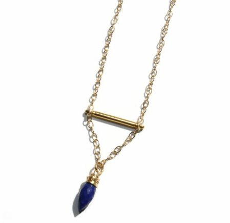 estate jewelry necklace gold link lapis italian lazuli