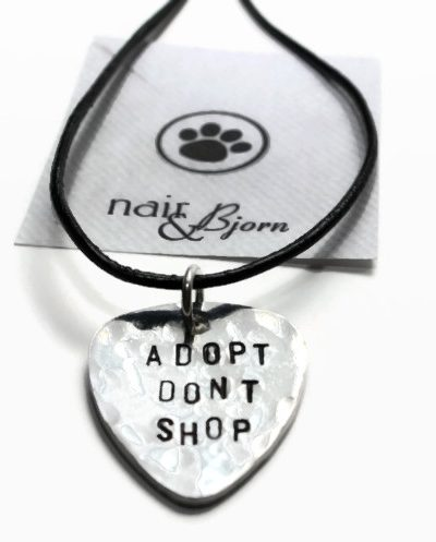 Guitar Pick Unisex Necklace: Adopt Dont Shop