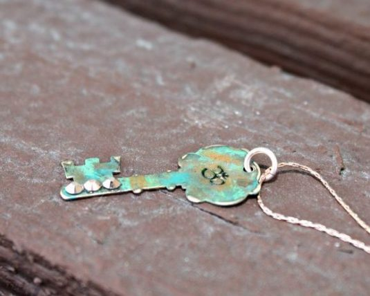 Om Patinated Key Necklace with Crystals