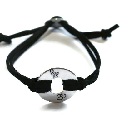 Om Washer Unisex Bracelet with vegan cords