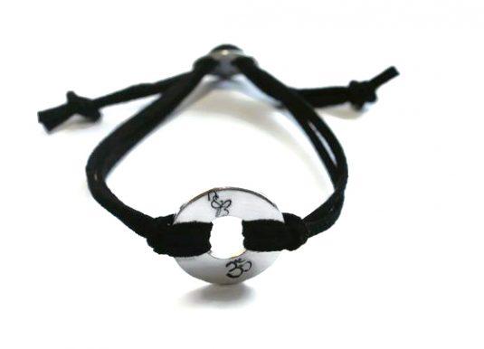 Om Washer Unisex Bracelet with vegan cords