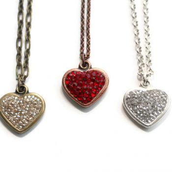 Pavé My Heart Necklaces Antique Brass, Antique Copper and Silver