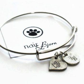 Paw print Heart Adjustable Bangle Bracelet