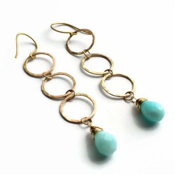 Three Charms Gold Earrings