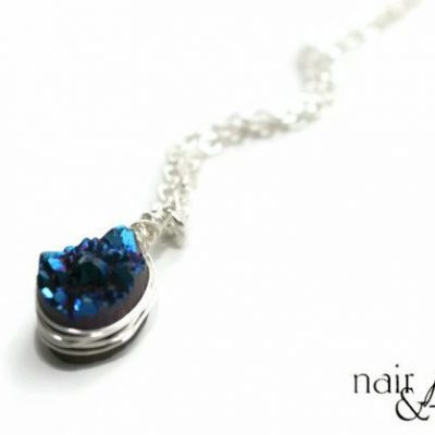 blue druzy necklace side view