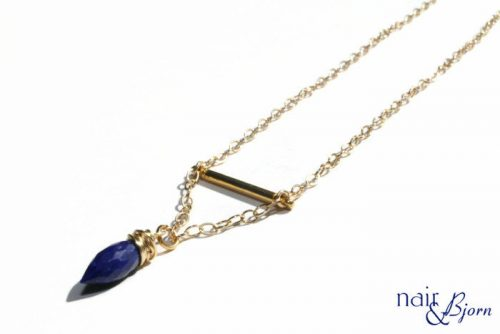 Lapis Gold Bar Necklace