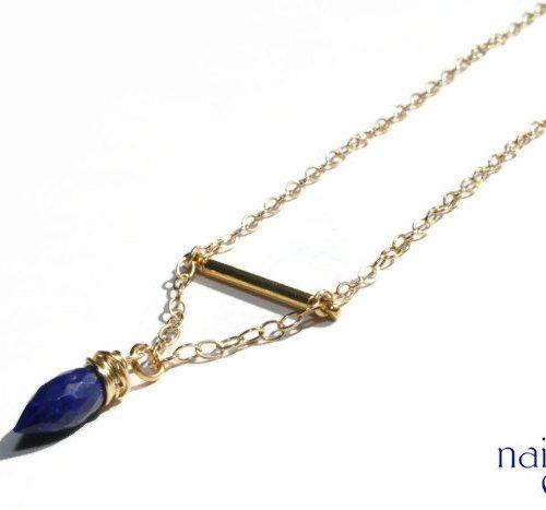 Lapis Gold Bar Necklace