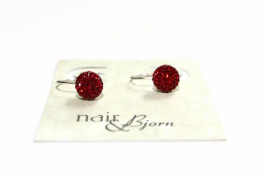 Red Pavé Mini Leverbacks Earrings