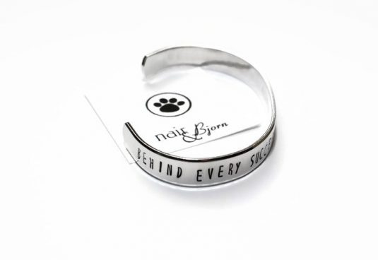 """""""Behind Every Successful Woman s a cup of coffee and a dog"""" bracelet"""