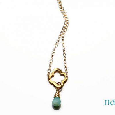 "Gold Quatrefoil Peruvian Opal Necklace – As seen in ""The Big Sick"""