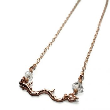 Rose Gold Twig 'n Herkimer Diamond Necklace