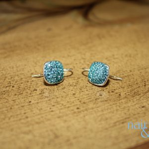 Pavé Squares Light Turquoise Swarovski Crystal Earrings – soon to be seen on the NEW show Law & Order True Crime