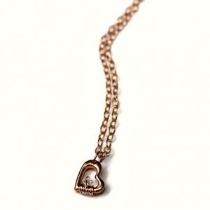 Rose Gold Heart 'n Herkimer Diamond Necklace