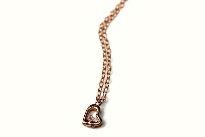Rose Gold Heart 'n Herkimer Diamond Necklace