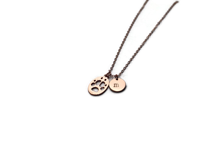 Rose Gold Paw Print 'n Initial Necklace
